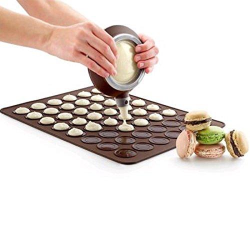Namivad Silicone Macaron Macaroon Mat Kit 48 Capacity Baking Mould Sheet Mold with Decorating Pot and 4 Nozzles