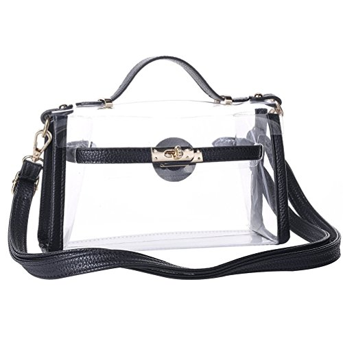 (Yocatech Transparent Crossbody Bags Messenger Bags For Women NFL Stadium Approved (Black))