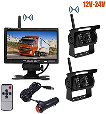 12V-24V 7 TFT LCD Monitor Car Rear View Kit 2X 18 LED IR Night Vision Reverse Camera Parking Assistance System 10M Cable for Bus Truck Caravan