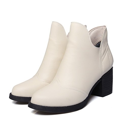 AllhqFashion Womens Kitten-Heels Soft Material Ankle-high Solid Zipper Boots Beige x1srO0G3s
