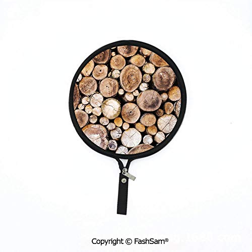 Fashion Multi-Functional Waterproof Digital Bag Wooden Logs Background Circular Shaped Oak Tree Life and Growth Theme Decorative Mouse Pad