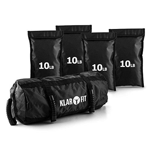 Klarfit Force Bag Power Bag Sandsack Training Set 18kg Gewichte mit Sand und Griffe (4x Sandsack je 4,5 kg, 1x Power Bag, Outdoor-geeignet) schwarz