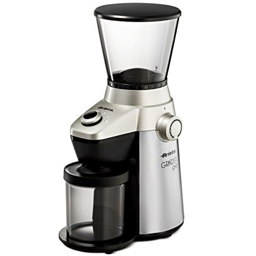 Ariete -Delonghi Electric Coffee Grinder - Professional Heavy Duty Stainless Steel, Conical Burr - Ultra Fine Grind, Adjustable Cup Size, 15 Fine - Coarse Grind Size Settings (Machine Grinder Coffee Burr)