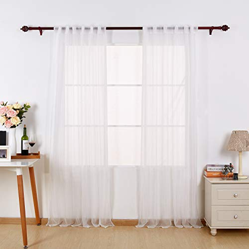 (Deconovo White Sheer Curtains 95 Inch Length-Back Tab and Rod Pocket Voile Drape Curtains for Living Room 2 Panels 52W x 95L Inch)