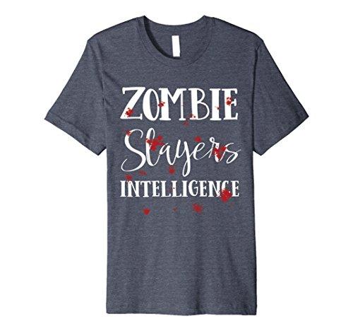 Zombie Slayer Costume Men (Mens Halloween Costume Zombie Slayer Bloody T-Shirt 2XL Heather Blue)