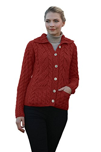 Cabled Sweater Coat - Ladies Irish Buttoned Cabled Super Soft Merino Wool Cardigan (Large, Jam Red)