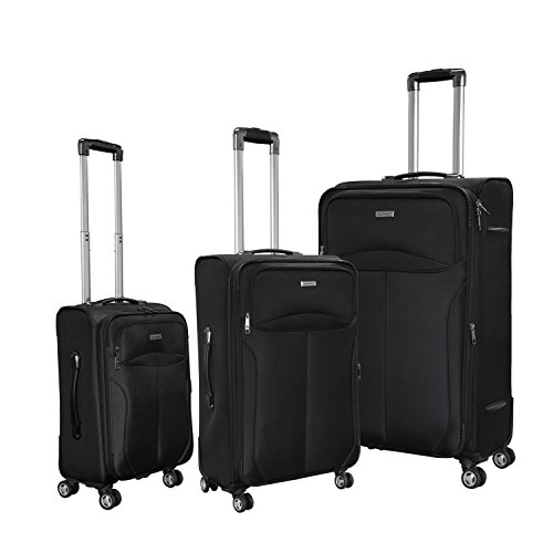 Magari Luggage 3-Piece Sets Expandable Lightweight 4 wheels Spinner Trolley Suitcase (Black) by Magari