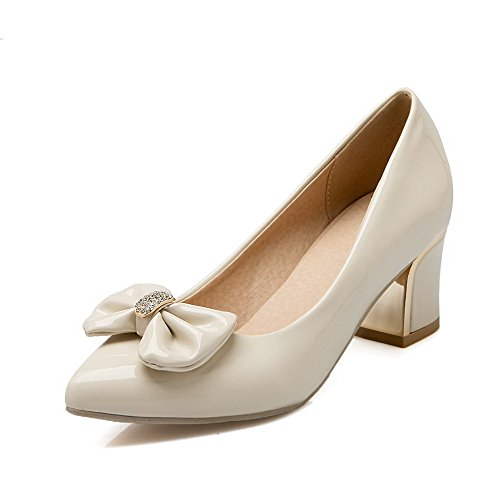 AllhqFashion Womens Pointed Closed Toe Kitten-Heels Patent Leather Solid Pull-on Pumps-Shoes Beige gpepf