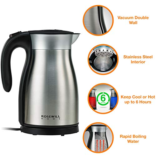 Rosewill Electric Kettle Stainless Steel Double Wall Vacuum Insulated, Keep Hot Thermal Pot, 1.7 L, 1500W , RHKT-17001 ()