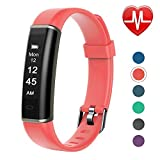 Letsfit Fitness Tracker with Heart Rate Monitor, Pedometer Watch, Waterproof Smart Watch Activity Tracker with Step Counter, Sleep Monitor, Step Tracker for Kids Women and Men (Coral)