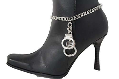 TFJ Women Fashion Boot Bracelet Bling Metal Chains High Heel Shoe Kye Lock Charm Silver