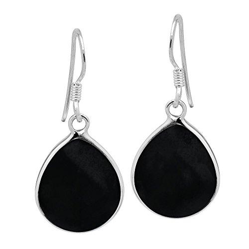 Chunky Teardrop Simulated Black Onyx Inlay .925 Sterling Silver Dangle Earrings