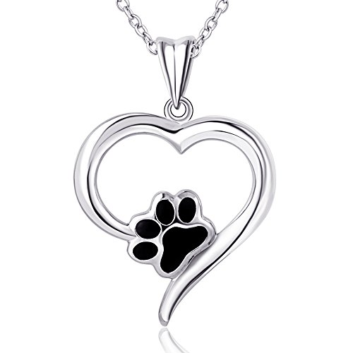 18' Sterling Chain Charm - Furious Jewelry 925 Sterling Silver Love Charm Puppy Paw Pendant Necklace, Rolo Chain 18'