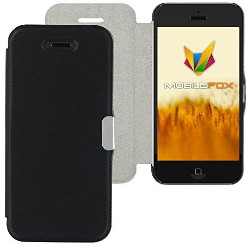Mobilefox Magneto Schutzhülle Flip Case Apple iPhone 5/S/SE Schwarz