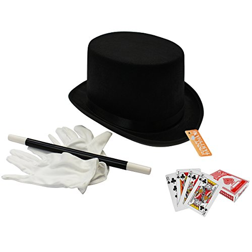 Top 10 Halloween Costumes For Adults (Magician Costume - 4 Pc Set, Magician Hat, Wand , Gloves & Bonus Cards - Magician Kit for Kids Funny Party Hats)