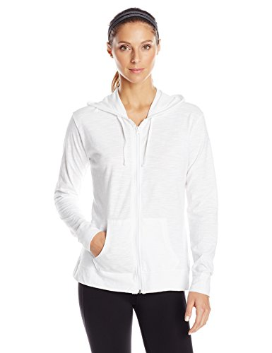 Hanes Women's Jersey Full Zip Hoodie, White, Large ()