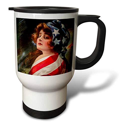 Flag Vintage Patriotic Postcard - 3dRose Scenes from the Past - Postcard - Patriotic 1916 World War I Vintage Pin-Up Betsy Ross Americana - 14oz Stainless Steel Travel Mug (tm_300250_1)