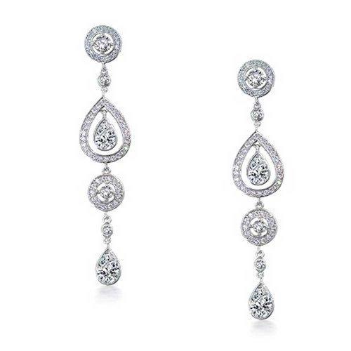 (Long Cubic Zirconia Pave CZ Waterfall Teardrop Linear Prom Pageant Statement Chandelier Earrings Silver Plated)
