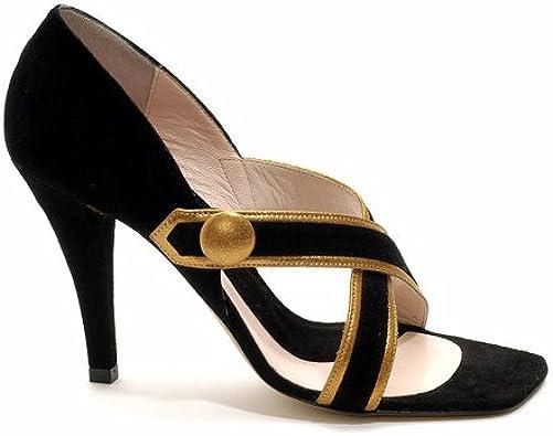 Black Suede Strappy High Heel Sandals