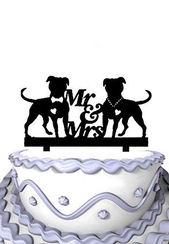 Meijiafei Script Mr & Mrs Silhouette Wedding Cake Topper Dogs Wedding Cake Topper