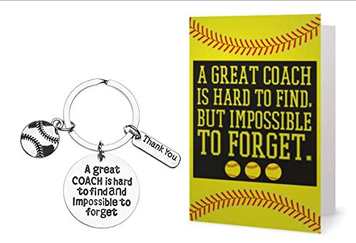 (Softball Coach Keychain and Card Bundle, Softball Gift, Great Coach is Hard to Find and Impossible to Forget Gift, Perfect Softball Coach Gifts)