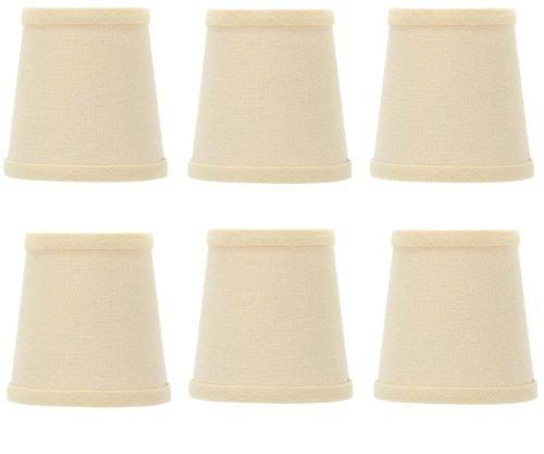 Upgradelights 4 Inch Beige Linen Barrel Drum Clip On Chandelier Shades (Set of 6) (Linen Barrel Shade)