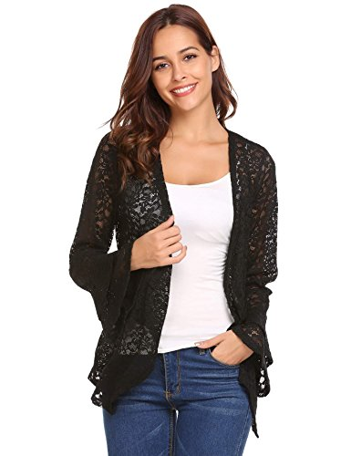 Concep Women's Bell Sleeve Cardigan Lace Crochet Casual Tops Sheer Cover Up Plus Size (Black, S)
