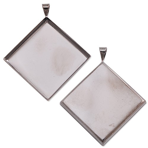 - 2525mm Gun-black Plated Deep Bottom Square Copper Pendant Trays, Lead and Nickle Free,sold 20pcs Per Pkg