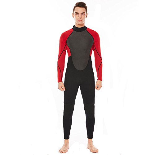 Realon Wetsuit Men Full 3mm Surfing Suit Diving Snorkeling Swimming Suit Jumpsuit (red/black, - Wetsuits Swimming