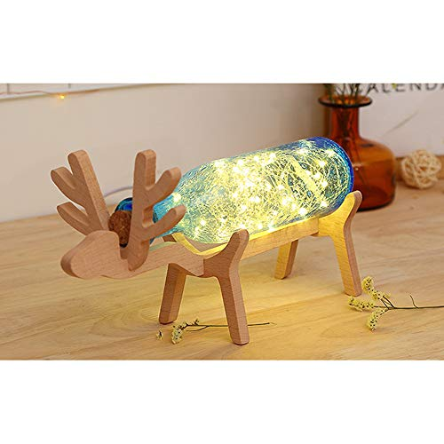 - Gotian Xmas Elk LED Glass Bottle Wooden Base Illusion Night Switch Button Control Table Light Lamp Gift (Blue)