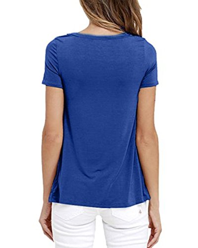 Q&Y Women's V Neck Short Sleeve Blouse Tops Casual Teen Girls Bandage Lace Up Tees Shirts Blue XXXL by Q&Y (Image #1)