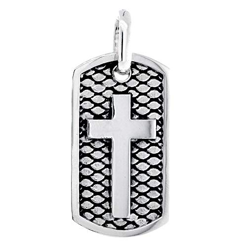 36mm Hardcore Metal Snake Skin Cross Pendant Dog Tag in Sterling Silver ()
