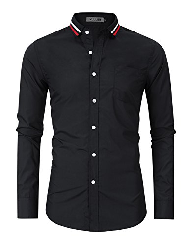 Kuulee Men's Stripe Collar Dress Shirt Slim Fit Long Sleeve Casual Button Down Oxford Shirt (XL, Black)