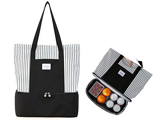 Insulated Lunch Tote Bag for Women Ladies 2-in-1 Large Trendy Zippered Stripe Tote Bag Shopping Bag Shoulder Bag Black - Shopping Online Reasonable