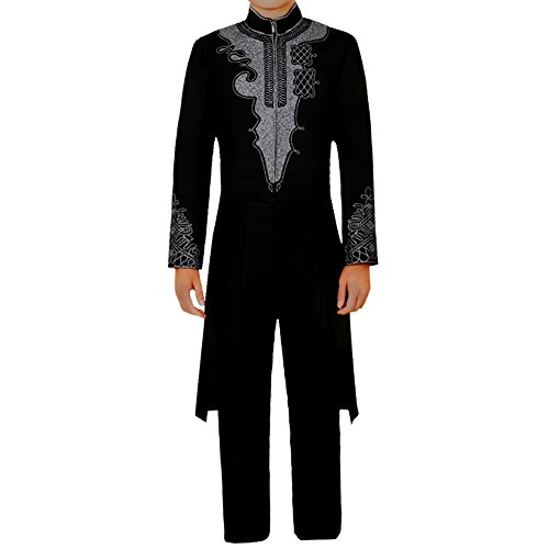 CG Costume Men's Black Tuxedo T'Challa 3D Print for Black Panther Cosplay Costume Large]()