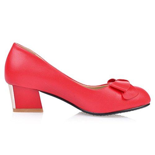 COOLCEPT Mujer Moda sin Cordones Boca Baja Zapatos Cerrado Tacon Ancho Zapatos con Bowknot Rojo