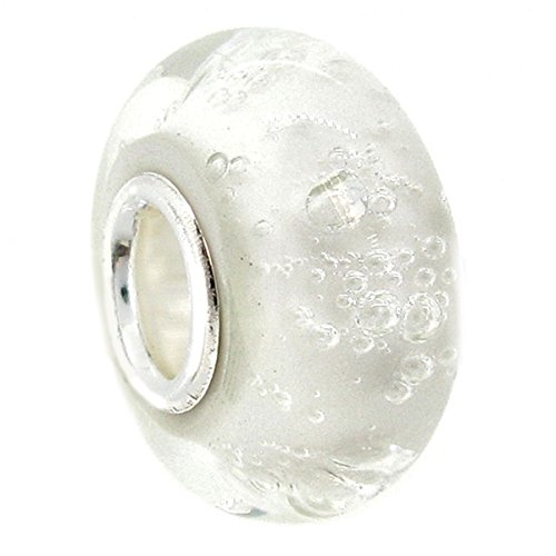Sterling Silve White Bubble Glass European Style Glass Bead Charm
