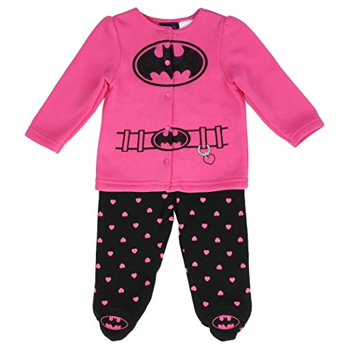 [Batgirl Girls 2-Piece Fleece Footed Pant & Jacket Set (3-6 Months)] (Baby Batgirl Outfit)
