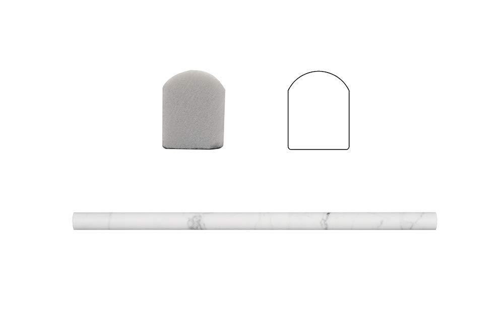 Italian Bianco Carrara White Marble 3/5 X 12 In. Pencil Liner Trim Molding Wall Floor Decorative Bathroom Kitchen Backsplash Tiles (16ln.ft.,16Pack Per Case), Polished