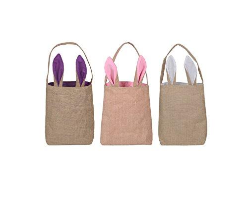 KEFAN 3 Pack Easter Bunny Bags Easter Bunny Baskets Jute Burlap Bunny Ear Tote Bags (Burlap Basket)