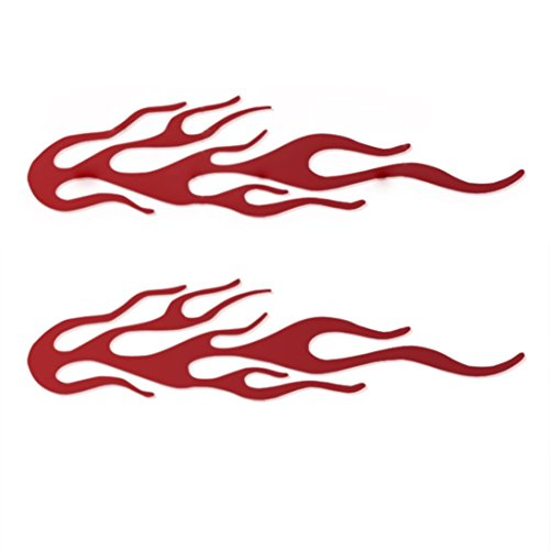 Boddenly 2PCS 3D Car Truck Bumper Decal Vinyl Graphics Side Sticker Flame Body Decal for Car Decoration7.8''x1.5''(Red)
