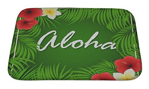 Gear New Bath Rug Mat No Slip Microfiber Memory Foam, Inscription Of Aloha On Green, 24x17 by Gear New
