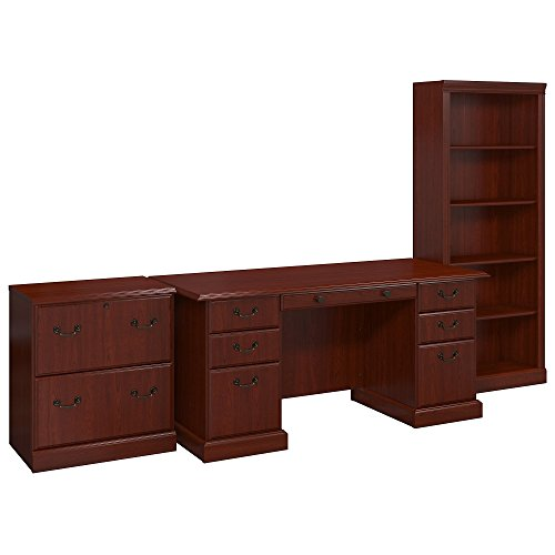 kathy ireland Home by Bush Furniture Bennington Manager's Desk, Lateral File and Bookcase in Harvest Cherry