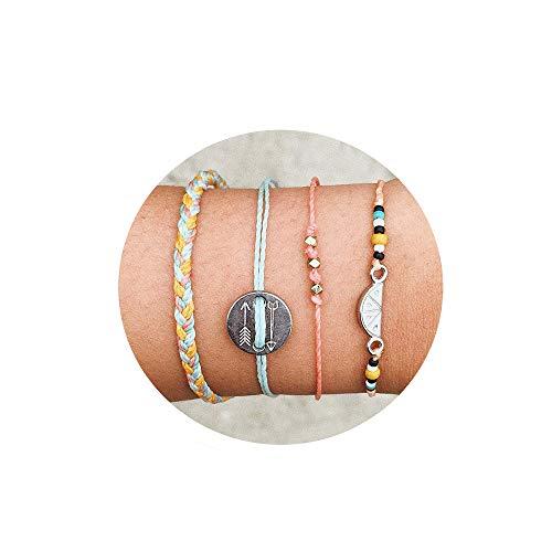 - Handmade Braided Wax Rope Adjustable Arrow Charm Strand Wrap Bracelet Set Waterproof Wave Shell Charm Stretch Knot String Thread Bracelets Anklets Pure Life Friendship Jewelry (Pink)