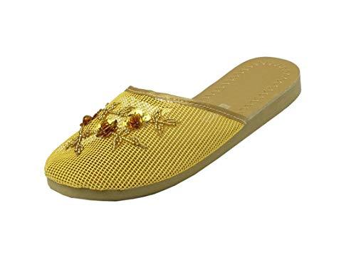 (REDVOLUTION Women's Chinese Mesh Flip Fop Sandals Slipper (8, Gold))
