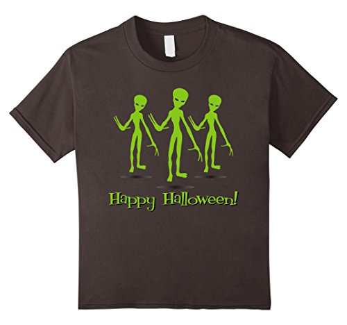 Kids Halloween Alien T-shirt | Scary Halloween Shirt 10 Asphalt - Homemade Kid Alien Costumes