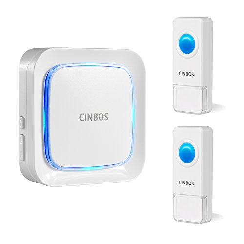 Cinbos Wireless Doorbell For Home/Office, 1000 Feet Long Range, 52 Chimes, 4 Levels Volume, LED Light, with 2 Remote Buttons and 1 Plugin Receiver (White 2 transmitter + 1 receiver) (Power Heat Register)