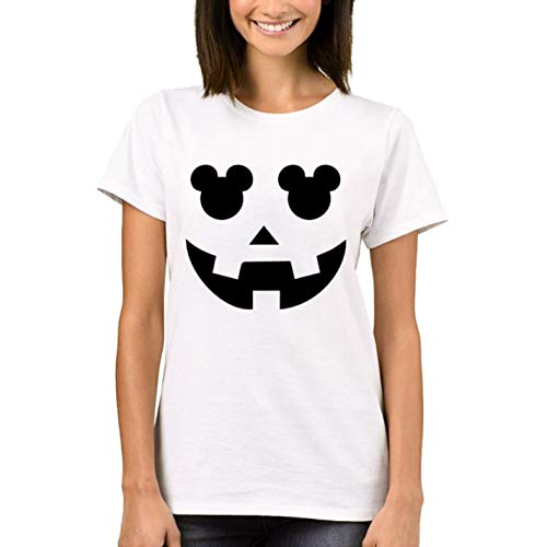 Halloween Pumpkin Women T-Shirt Ladys Mouse Printed Tops Short Sleeve Funny -