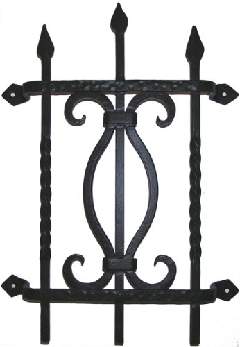 Agave Ironworks Square Bar Fancy Grille, Dark Bronze Finish by Agave Ironworks