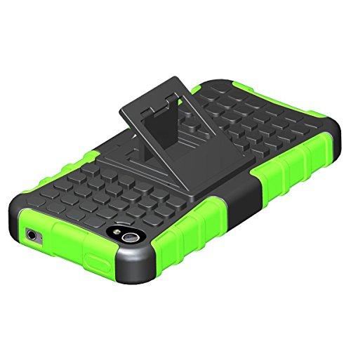 LUOLNH iPhone 4 4s Hülle (TPU Series) Silikon Stoßfest Touch 6 Schutzhülle Ständer Armor Drop Resistance Schutz Hülle für Apple iPod Touch 5G 6G (Grün)